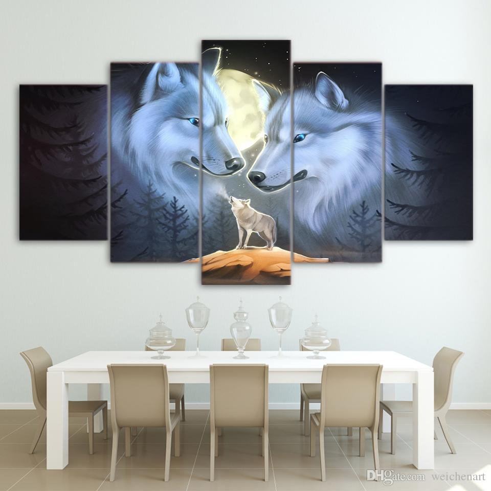 Wall Art Room Home Decor Frame Canvas HD Prints Poster Full Moon Night Animal Wolves Painting Landscape Pictures
