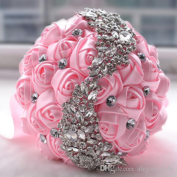 2018 New blush Crystal Brooch Wedding Bouquet Wedding Accessories Bridesmaid Artifical Satin Flowers Wedding Flowers Bridal Bouquets