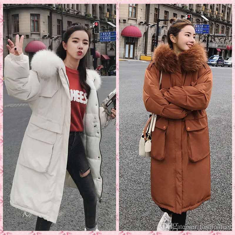 Long Oversize Cotton Padded Jacket Korean 2019 Women Ladies Winter Long  Warm Thick Parka Faux Fur Hooded Jacket Coat UK 2019 From Fashionfirst a81c5c968a