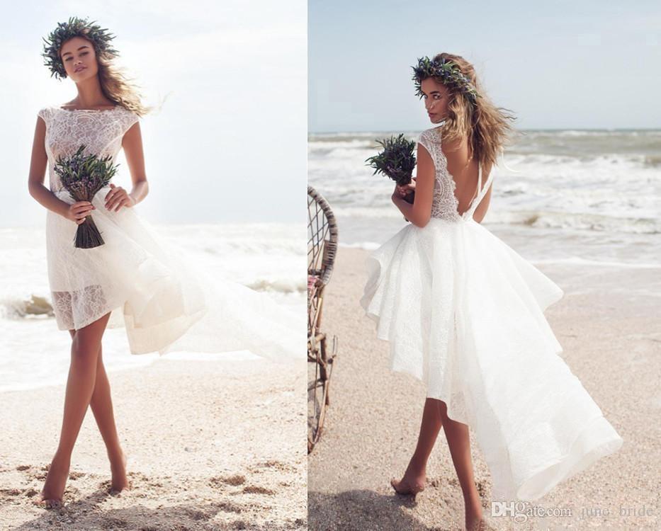 Großhandel 2018 Beach Short Pallas Couture Brautkleider High Low ...