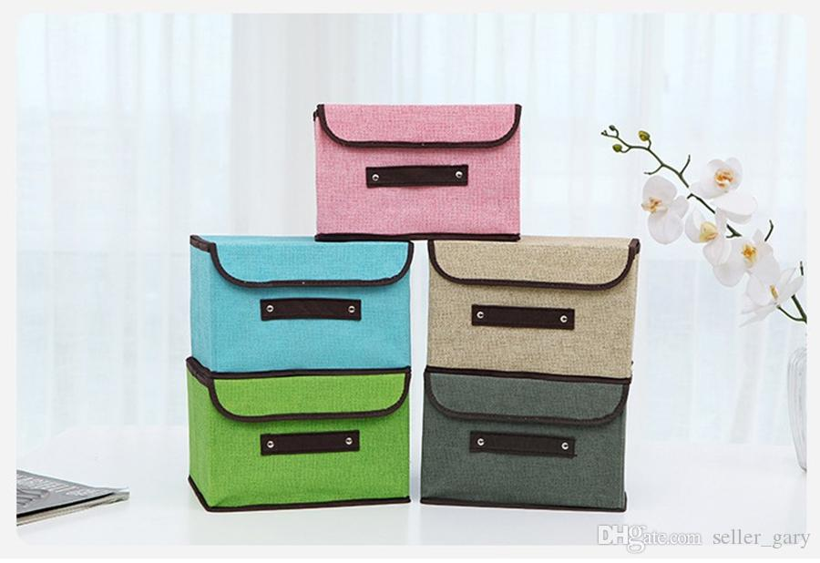 Home Foldable Handle Storage Box Essentials Fabric Collapsible Convenient Storage  Bin Basket With Rope Handle   For Office Bedroom Closet Storage Bin ...