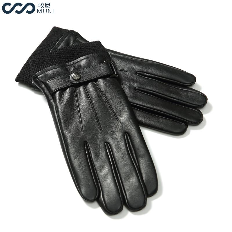 Men Sheepskin Gloves Touchscreen Texting Winter Genuine Leather Fashion 2018 Luxury Wrist Adult Male Winter Driving Black Gloves