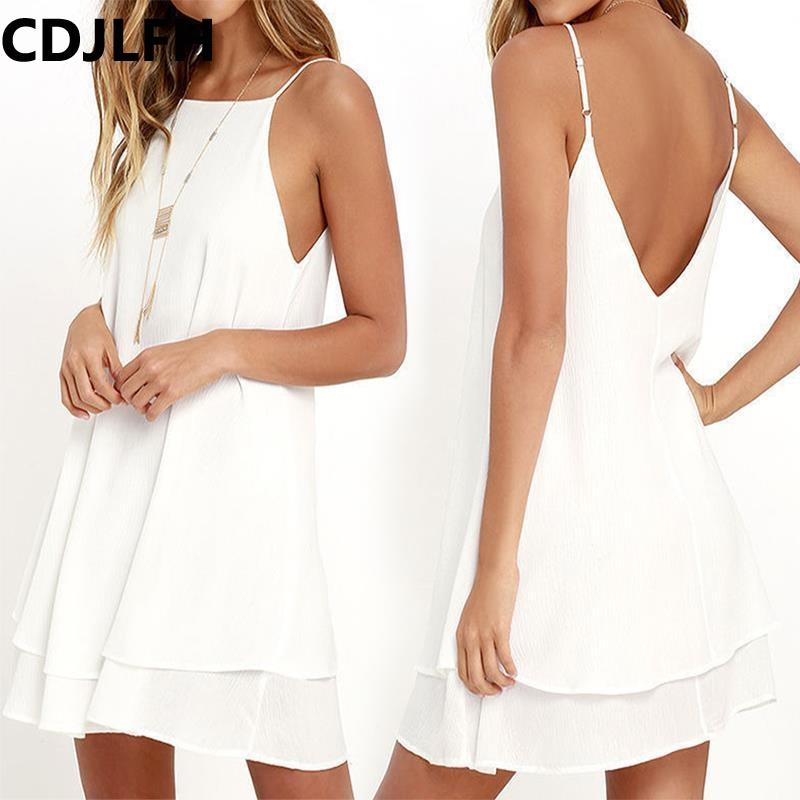 4655451a2b4 2019 Summer Tops For Women 2018 White Backless Tank Top Women Sexy Sling  Shirt Femme Clothes Chiffon A Line Streetwear Plus Size From Xiamen2013
