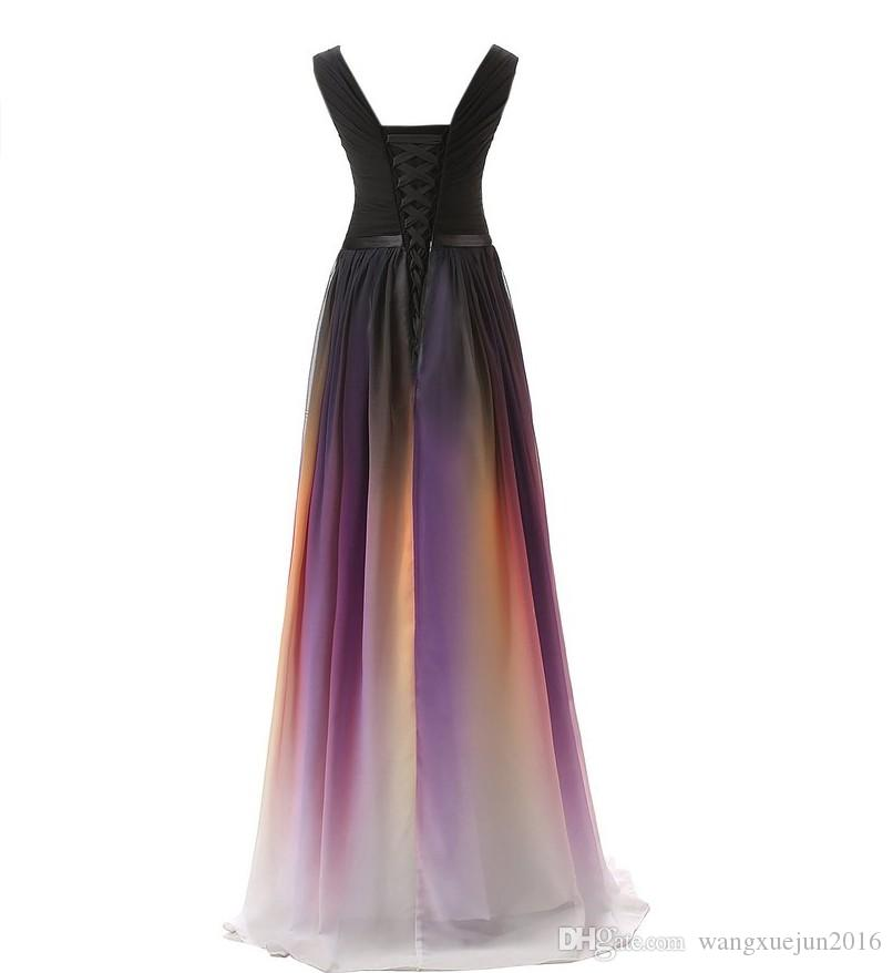 Rainbow White Blue Red Gradient Chiffon Evening Dresses Long Ombre Party Prom Formal Bridesmaid Dresses Stock Size 2 4 6 8 10 12 14 16