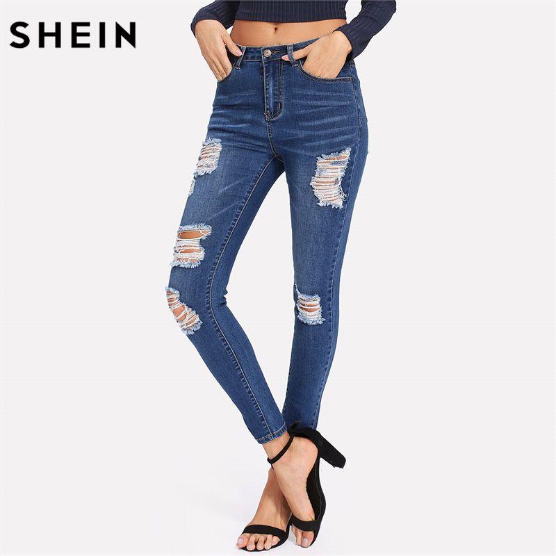 f006de71e4 2019 SHEIN Bleach Wash Shredded Ripped Skinny Jeans Women Blue Mid Waist  Skinny Long Pants 2018 Rock Button Fly Stretchy Jeans From Maluokui, ...