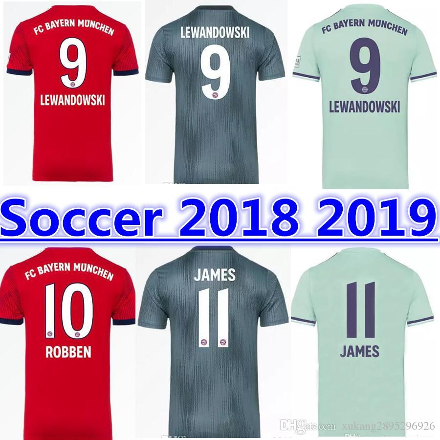 18 19 Bundesliga Bayern Munich Soccer Jersey 2018 2019 MULLER  25 RIBERY ROBBEN  LEWANDOWSKI JAMES HUMMELS Kimmich Maillots De Football UK 2019 From ... d3a224dac
