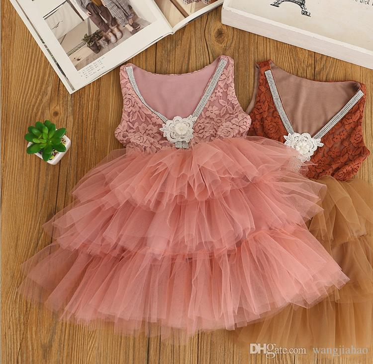 c8ff6a5e8 Baby Girls Dresses Clothes 2018 Summer Lovely Baby Flower Girl Dress  Princess Pageant Lace Tulle Little Girls Special Occasion Dresses White  Dress Skirt ...