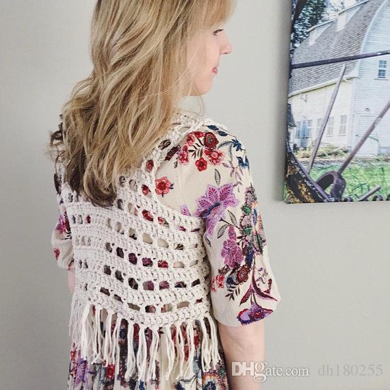 2019 Womens Boho Vest Rocker Vest Crochet Fringe Boho Vest