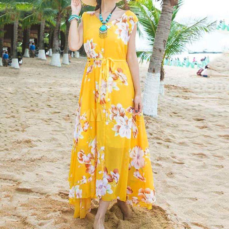 3f5068d88e Women Chiffon Summer Dress 2018 Vintage Floral Print V Neck Sleeveless 4XL  5XL Plus Size Dress Casual Beach Maxi Long Boho Dress Evening Dresses For  Women ...