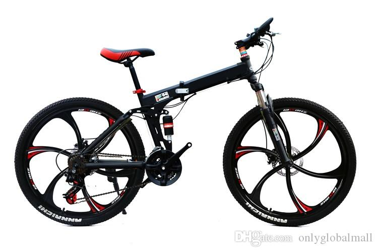 26inch folding mountain bike 21 speed double damping 3/6 knife wheel bicycle double disc brakes mountain bike