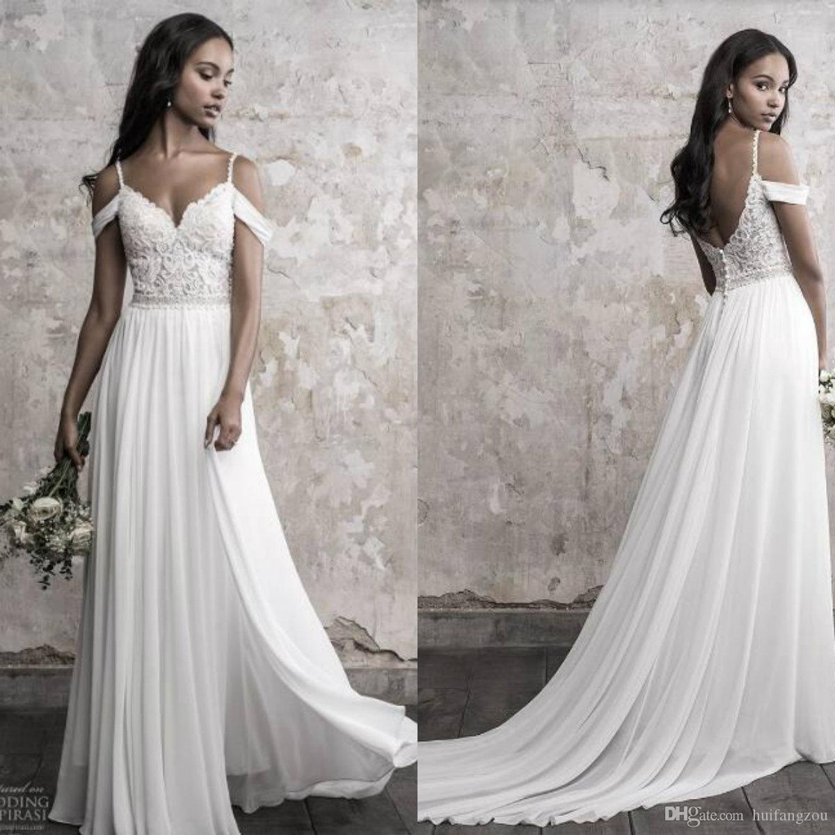 0e3506f302b Discount Madison James 2018 Wedding Dress Simple Spaghetti Off Shoulder Lace  Applique Beads Chiffon Bridal Gowns Summer Beach Wedding Dresses Discount  ...