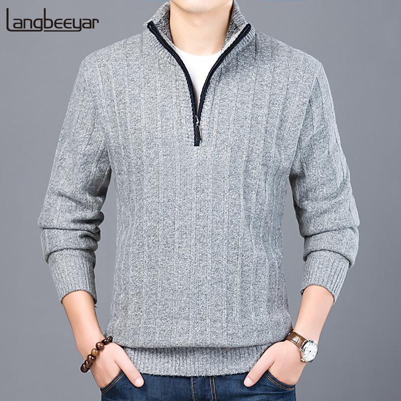 2018 New Fashion Brand Sweater Men Half Zip Pullover Slim Fit Jumpers Knitwear Thick Autumn Korean Style Casual Clothing Male