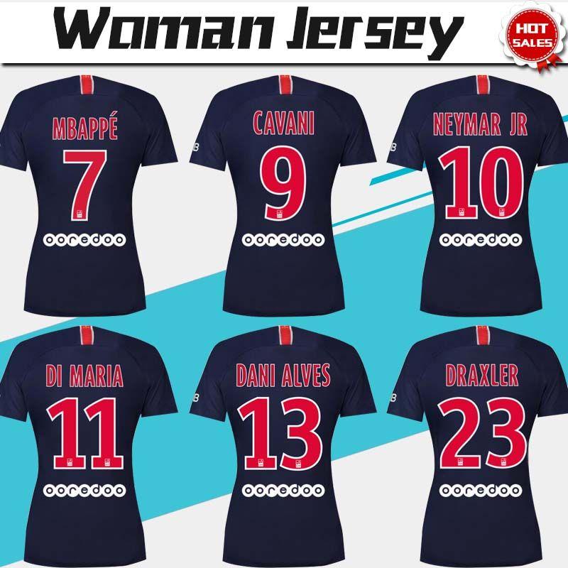 20493117f1ae7 Camiseta Mujer Jersey 2019   10 NEYMAR JR PSG Camiseta De Fútbol 18 19   7  MBAPPE Camiseta Mujer   9 CAVANI Uniforme De Fútbol Paris Saint Germain Por  ...