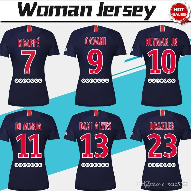 Jersey mulheres 2019   10 NEYMAR JR PSG Casa Camisas De Futebol 18 19   7  MBAPPE Menina Camisa De Futebol   9 CAVANI Paris Saint-Germain Uniforme De  Futebol ee557c8117b2d
