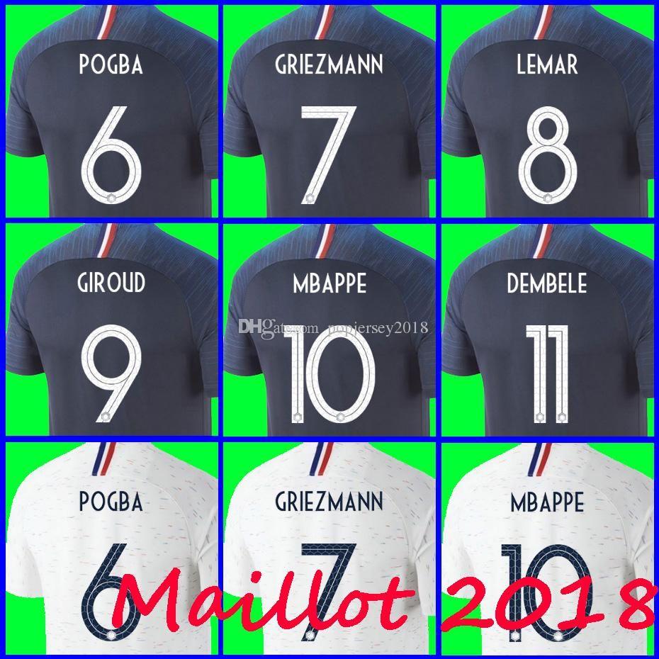 Thailand Maillot De Foot GRIEZMANN 7 POGBA 6 MBAPPE 10 Soccer Jerseys 2018  World Cup MARTIAL KANTE Jersey Football Kits DEMBELE Soccer Shirt Wholesale  Cheap ... 2905284bf