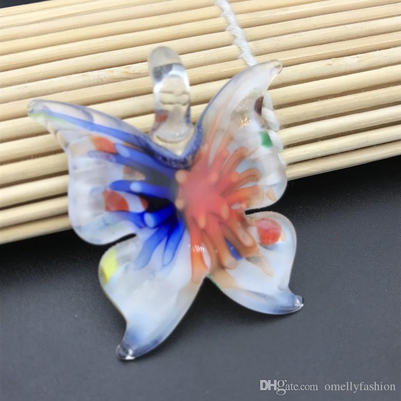 الأزياء فراشة الايطالية البندقية lampwork واضح زجاج مورانو المعلقات القلائد مجوهرات اليدوية مع سلسلة جلدية بالجملة رخيصة بالجملة