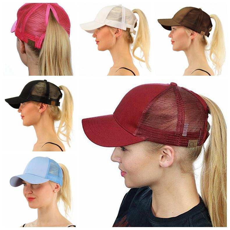 b6a992e9d 13 color CC Ponytail Hats Messy Buns Trucker CC Pony Caps Plain Baseball  Visor Cap Dad Hat 500pcs