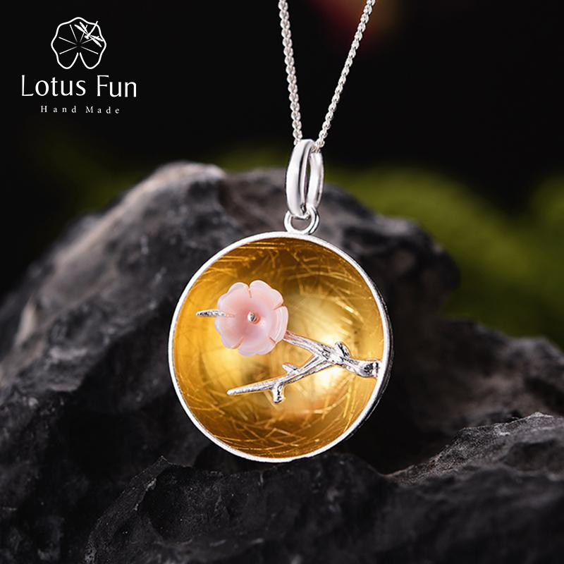 Lotus Fun Real 925 Sterling Silver Natural Shell Handmade Fine Jewelry The Aroma of Wintersweet Pendant without Necklace Women S18101308