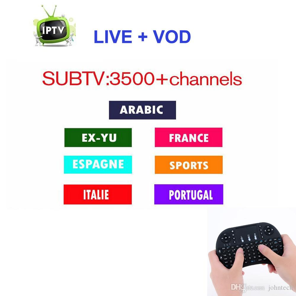 1 Year Free 3500 VIP SUBTV Subscription Channels HD Europe Arabic French  Brazil Sweden Lations IPTV Account Work on Android Mag250 TV Box