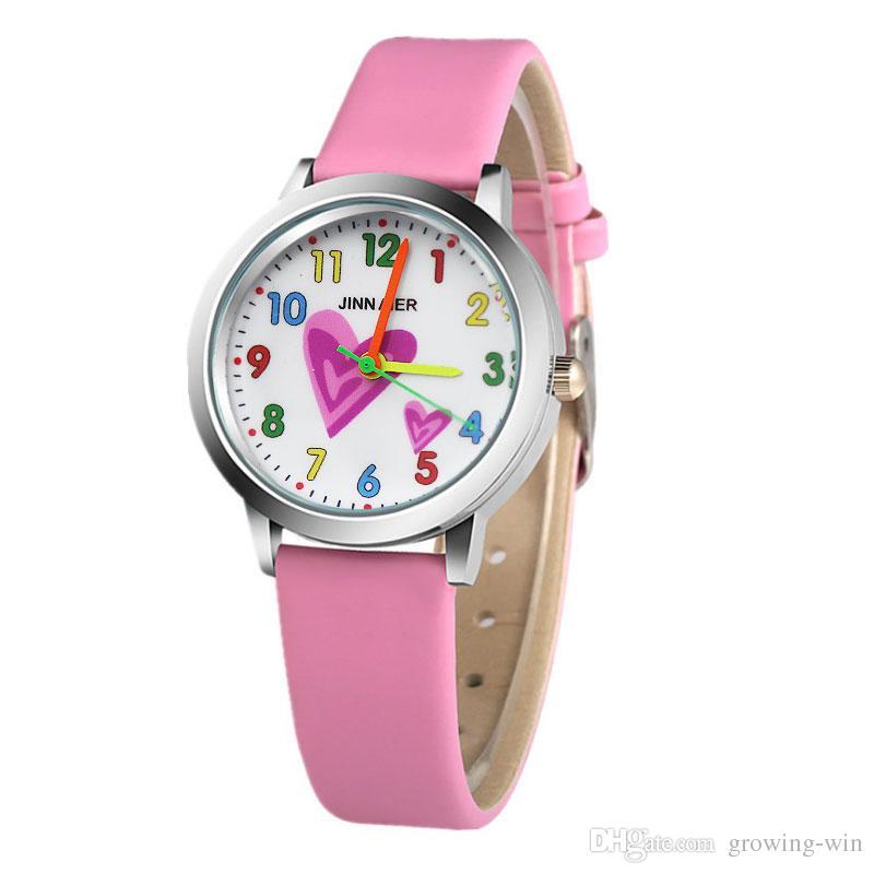 9b4d728fa29 Atacado moda feminina senhoras crianças crianças meninas estudantes cor  número amor design relógio 2018 novo vestido de senhora relógios de quartzo
