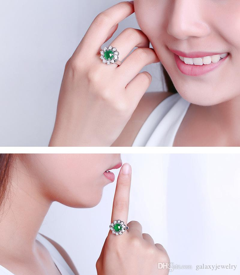 YHAMNI New Original Latest Fashion 925 Pure Silver Ring Flower Type Set Natural Green Gem Adjustable Size CZ Rings Jewelry for Women ZR234