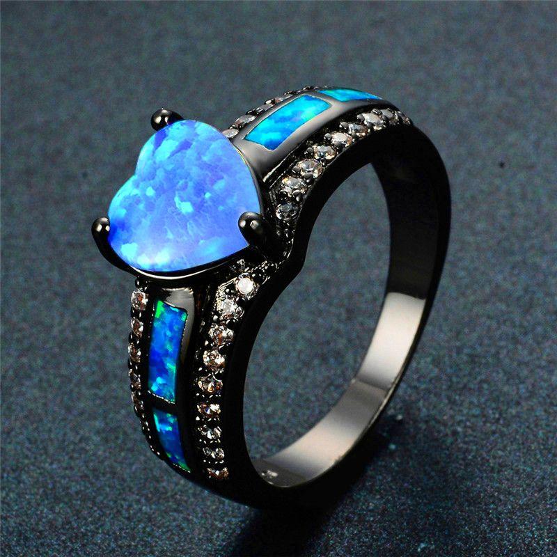 Charm Multicolor Heart Zircone Blu / Viola / Verde Colorful Stone Ring Anello da donna in oro nero vintage opal nero fucile opale