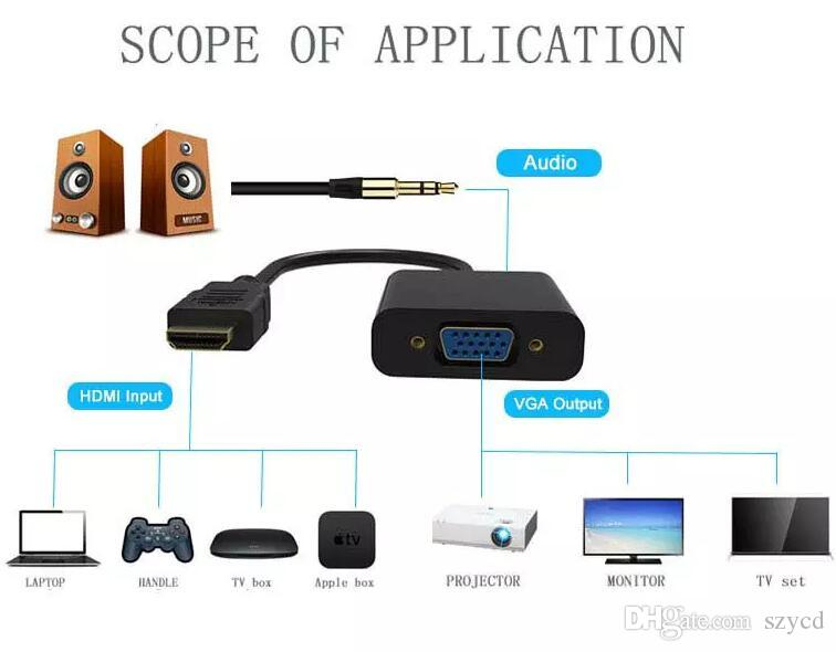 HDMI to VGA Data Cable with Audio Cable Video Converter Adapter For Xbox 360 PSComputer