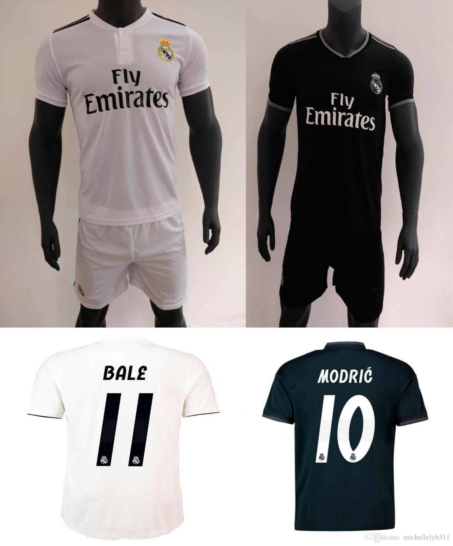 b20505d65588d Compre 18 19 Real Madrid Casa Fora De Futebol Jersey Shorts 2018 2019  Ronaldo ASENSIO Bale Kroos Kits De Futebol ISCO Camiseta De Fútbol Camisa De  Futebol ...