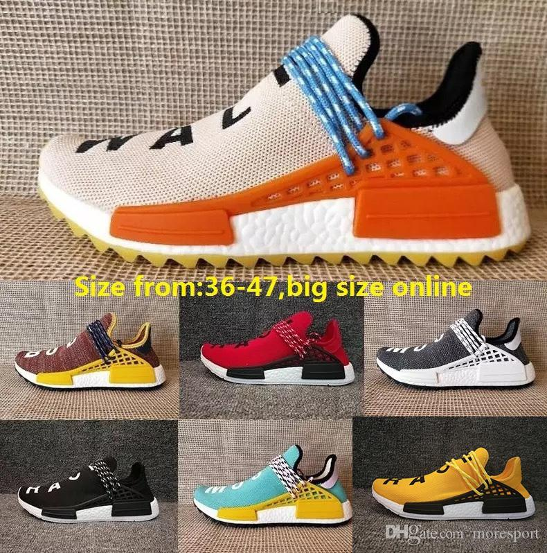 253b659ac 2018 Hot Pharrell Williams X Women Men Running Shoes Human Race Sports  Shoes Athletic Outdoor Shoes Noble Ink Yellow Blue Wholesale Green Shoes  Most ...