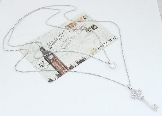 Korean Exquisite Ziron Rhinestones Wedding Bride Sweet Love Keys Pendants Charm Bilayer Necklaces Fine Fashion Jewelry Accessories For Women
