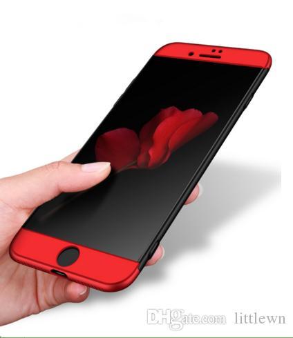 Für Apple Iphone 8 Plus Case 360 Ganzkörper Hart satiniert Rückendeckel Case Für Iphone 8P Schutztasche Shell Nicht undicht Label