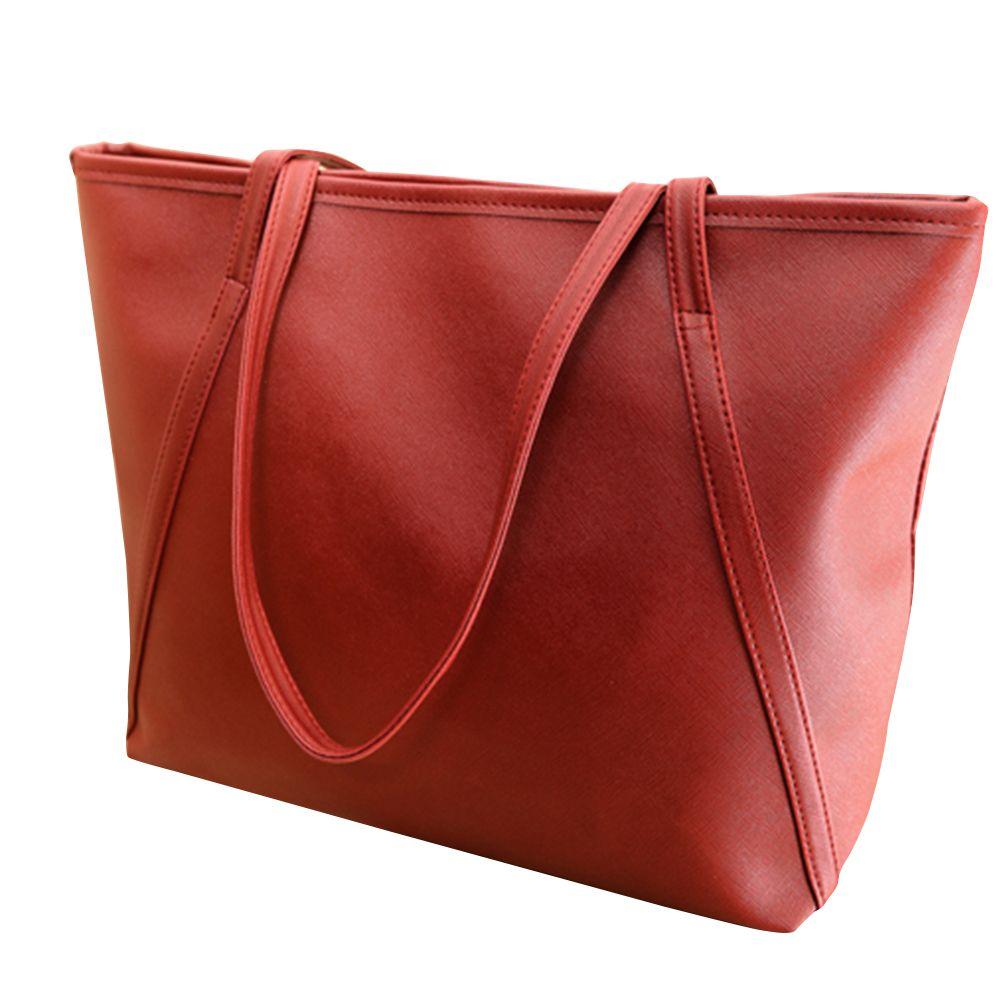 b21817434b6 Women Faux Leather Handbag Solid Color Tote Bag Zipper Big Fashion Shoulder  Bag Black Bags Crossbody Purse From Faaa,  25.57  DHgate.Com