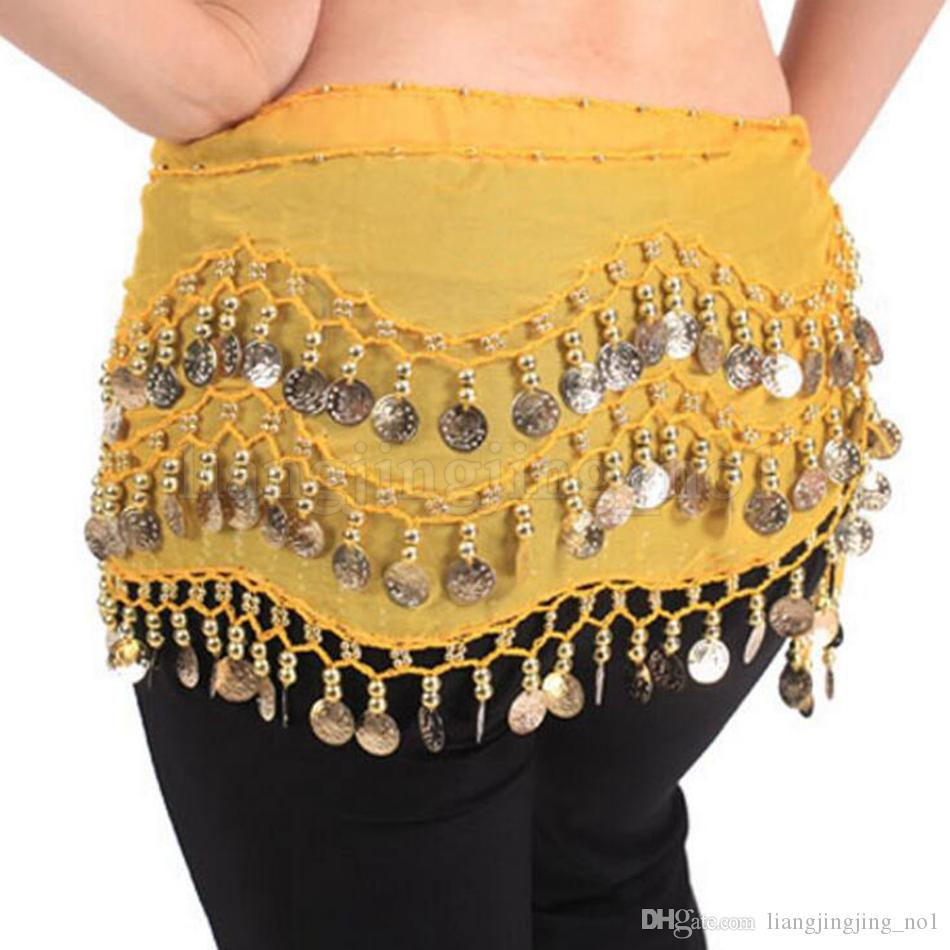 Belly Dance Faldas Scarf Decoración de fiesta Hip Wrap Beld Celiffon 3 Filas 128 Monedas Belts OOA5195