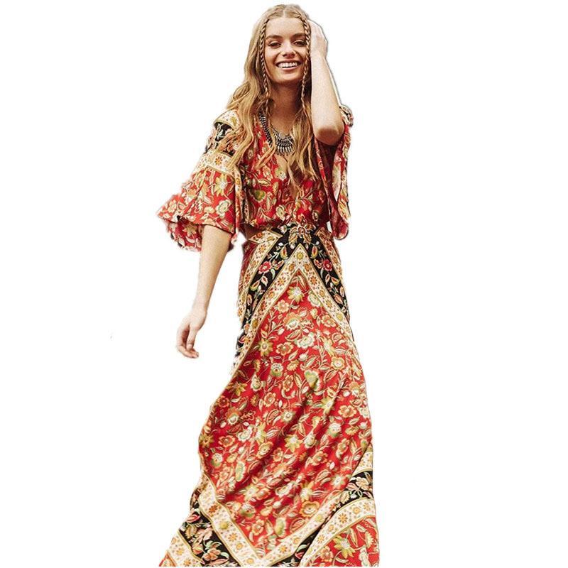 67633a4086 Compre Algodón Estampado Floral De La Playa Vestidos Bodycon Vestido 2017  Verano Sexy Backless Cintura Hueco De Manga Corta Maxi Boho Chic  DressY1882301 A ...