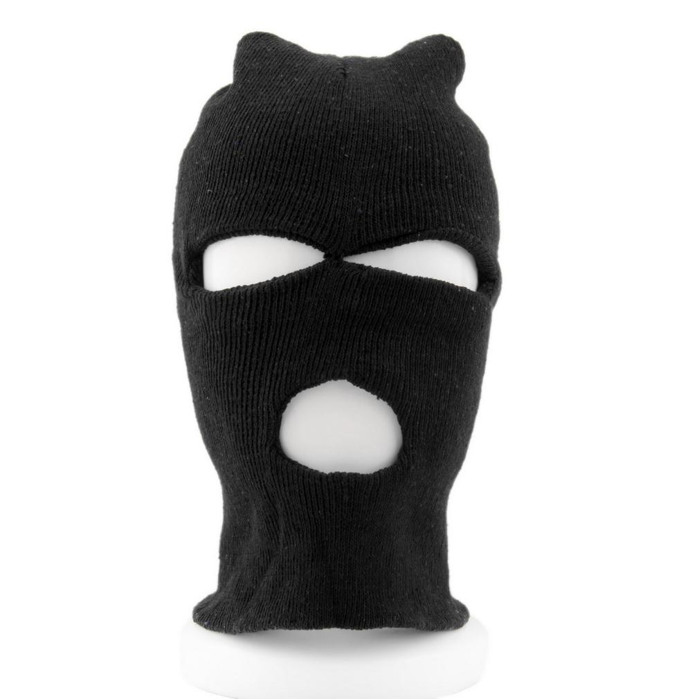 9d361710f1ac4 2019 Full Face Cover Ski Mask 3 Hole Balaclava Knit Hat Winter Stretch Snow  Mask Beanie Male Men Motorcycle Balaclava From Qingfengxu
