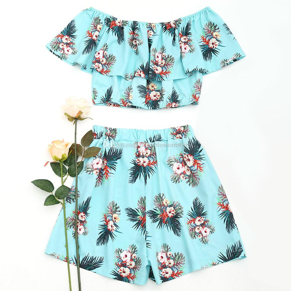 72de4f6dc94 Cheap Women Two Pieces Sets Floral Off Shoulder Cropped Top with High Waist  Shorts Suits Casual Summer Beach Bohemian Holiday Elastic Waisted Sets