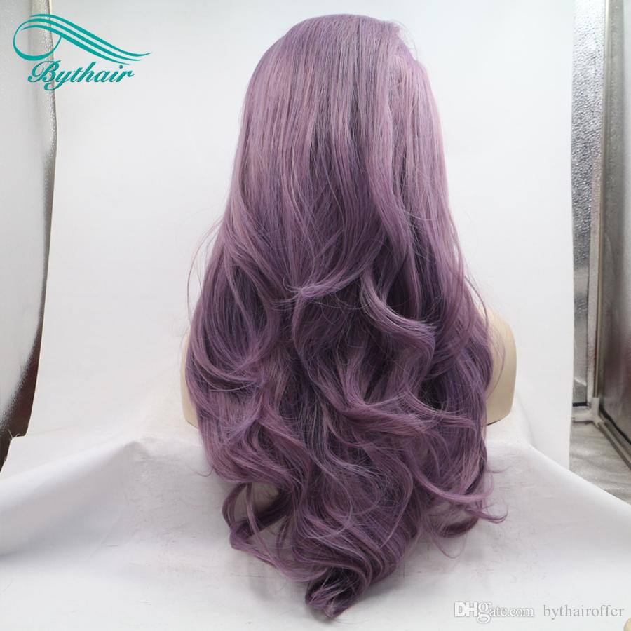 Bythairshop Long Body Wave Purple Color Synthetic Lace Front Wig Half Hand Tied Bouncy Heat Resistant Fiber Hair Cosplay Wig