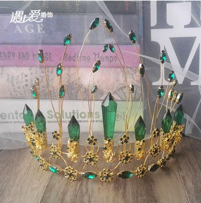 European and American brides hair ornaments green crystal crown crown Korean style