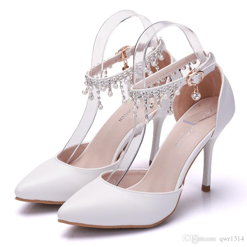 New Summer elegant pointed toe shoes for women crystal chain high heel wedding shoes thick heels Beautiful pearls Plus Size Shoes
