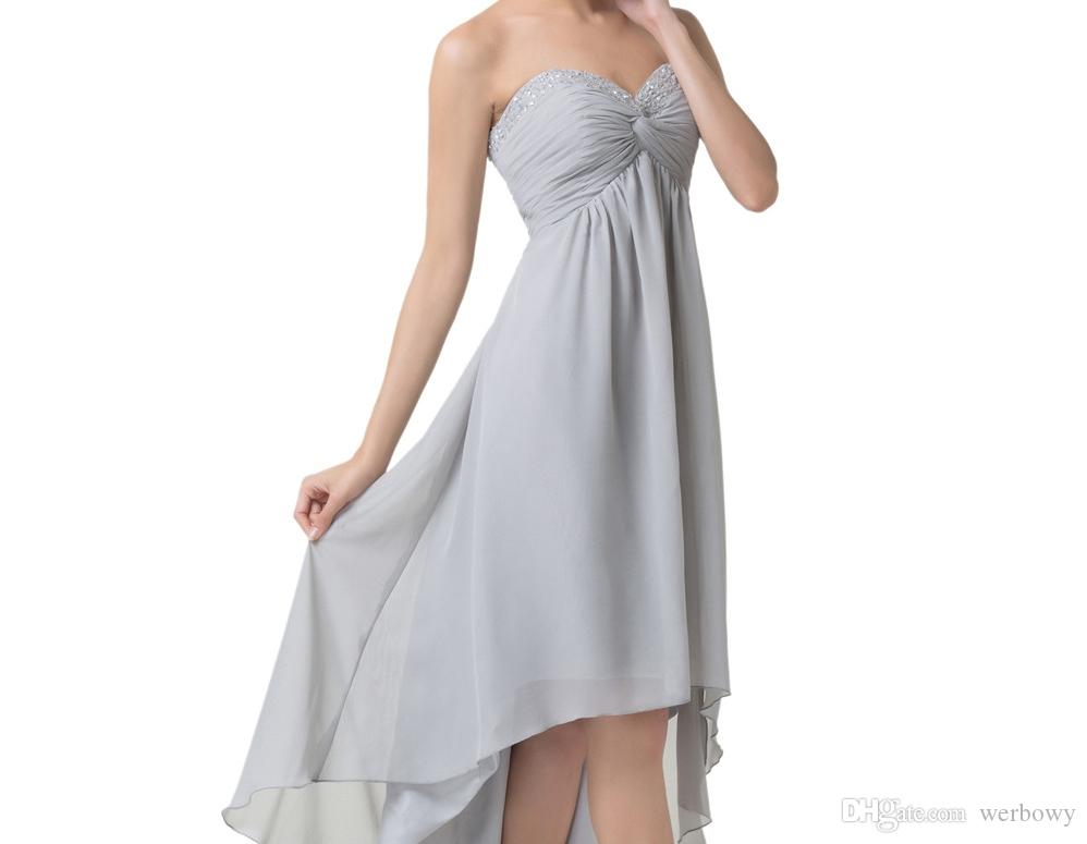 Short Front Long Back Evening Dresses Special Occasion A-Line Dresses Grey High Low Prom Dresses Party Formal Gowns HY1378