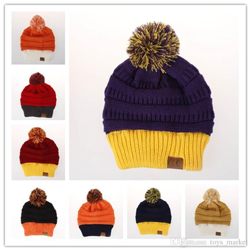 b3831fcdf3b CC Beanies Knitted Hats Winter Keep Warm CC Label Cap Beanies Unisex Casual  Winter Cap Outdoor Crochet Hat Kangol Hats Kid Birthday Party Supplies From  ...