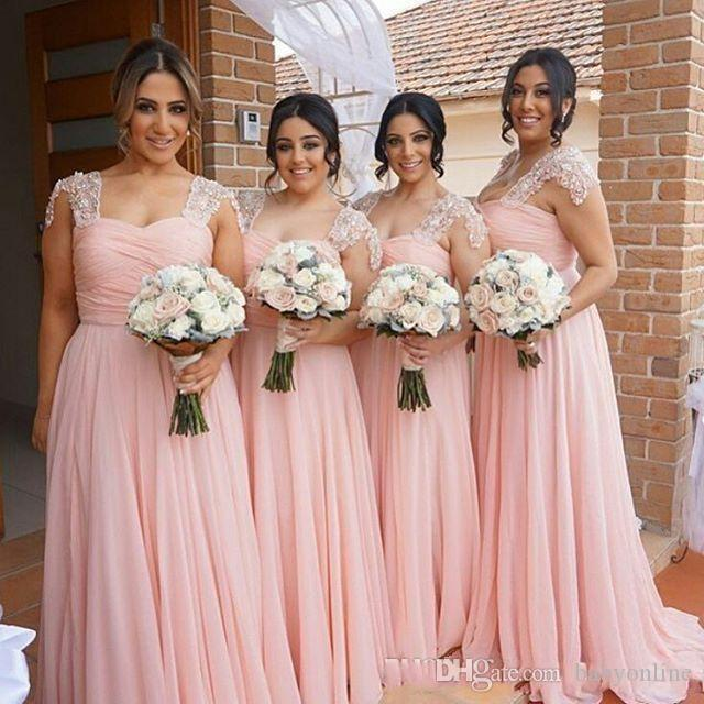 Элегантный розовый платья невесты длинные шифоновое платье загар стиль кантри пляж фрейлина платья свадьба формальная одежда BA2639