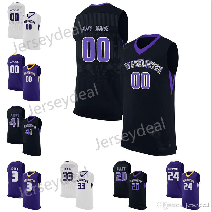 2019 Custom Washington Huskies College Basketball Jerseys Purple Black White  All Stitched Jersey From Jerseydeal b75184ef9