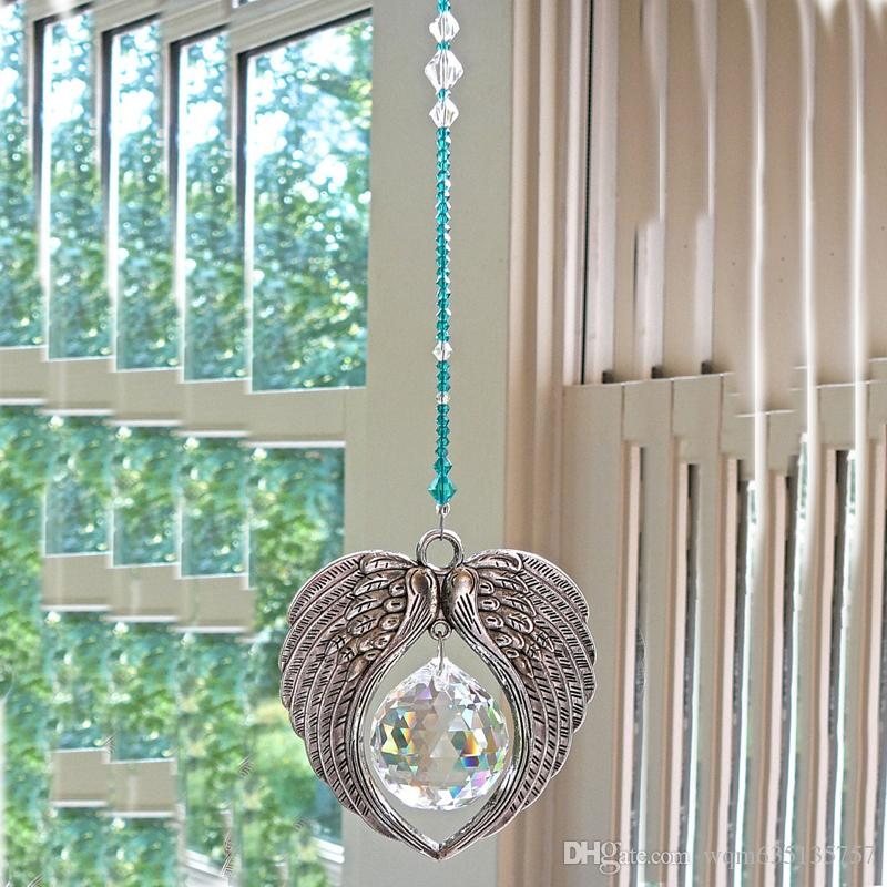 Glass Crystal Angel Wing Pendant Hanging Suncatcher Ball Prism Rainbow Maker Car Rear View Mirror Charms