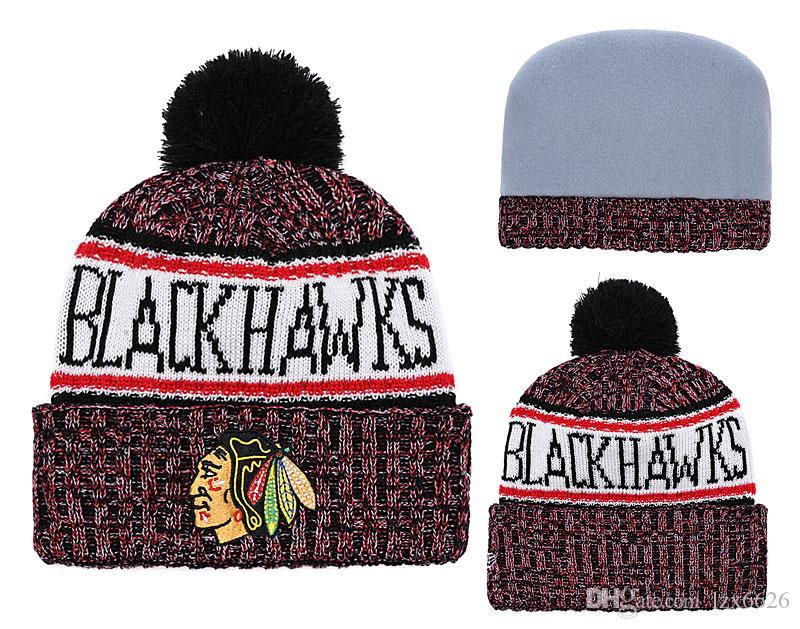2018 New Chicago Blackhawks Classic Sport Hockey Skullies Hat Pom Cuffed Knitted  Hats Embroidered Team Logo Fans Fashion Winter Warm Beanies Funny Hats ... 4652a378ddd