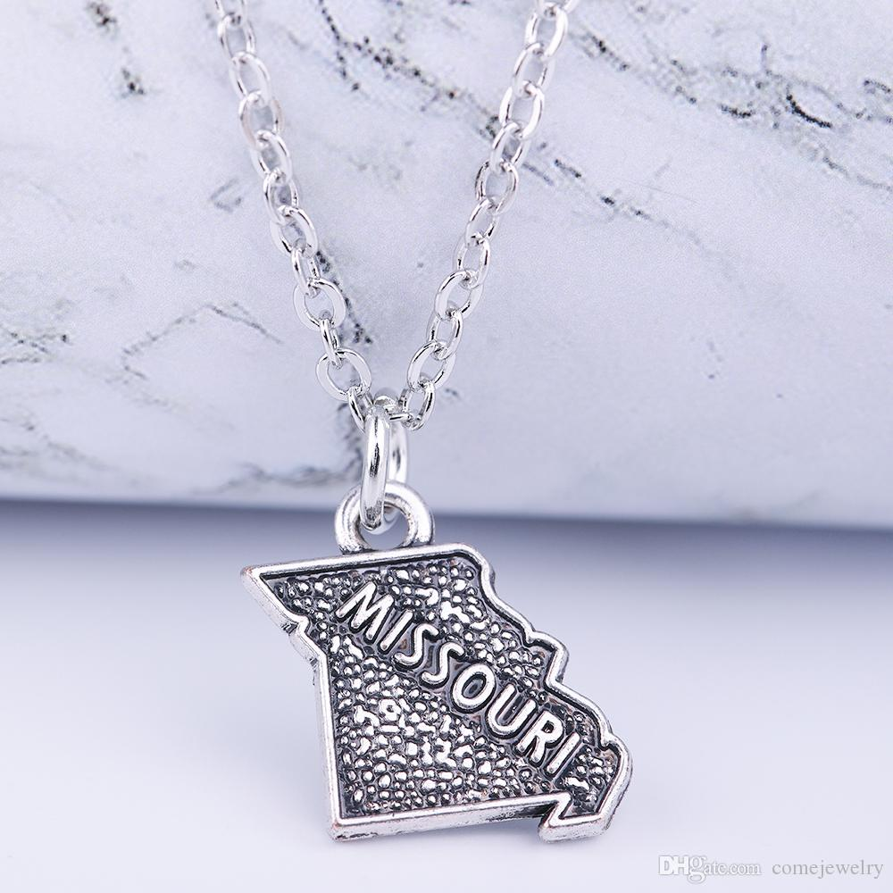 Fashion Jewelry Two Styles MISSOURI Map Charm Silver Pendant