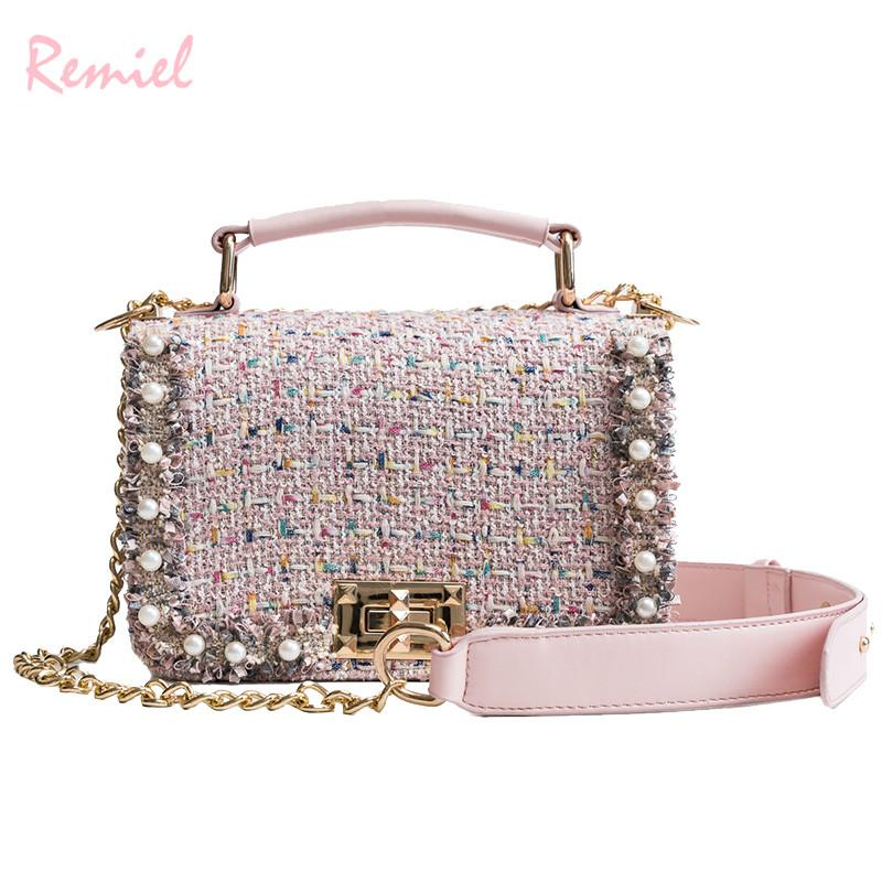 Korean Fashion Ladies Square Bag 2018 New Quality Woolen Women S Designer  Handbag Pearl Lock Chain Tote Shoulder Messenger Bags Leather Purses Cheap  ... c330233b28a72