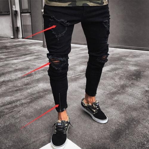 d5982a39ae2d Fashion Men Ripped Skinny Jeans Hole Destroyed Frayed Slim Fit ...