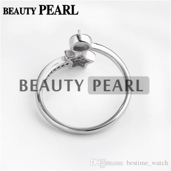 Bulk of 925 Sterling Silver Cubic Zirconia Glittery Star Ring DIY Pearl Jewellery Mounts