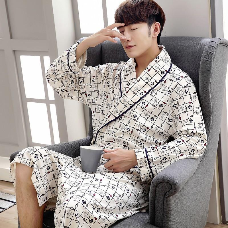 f36ec90750 2019 2017 Autumn Men Long Kimono Cotton Robes Nightgown Male Bathrobe Adult  Sleepwear Nighty Casual Home Clothing Bath Robe Winter From Freea